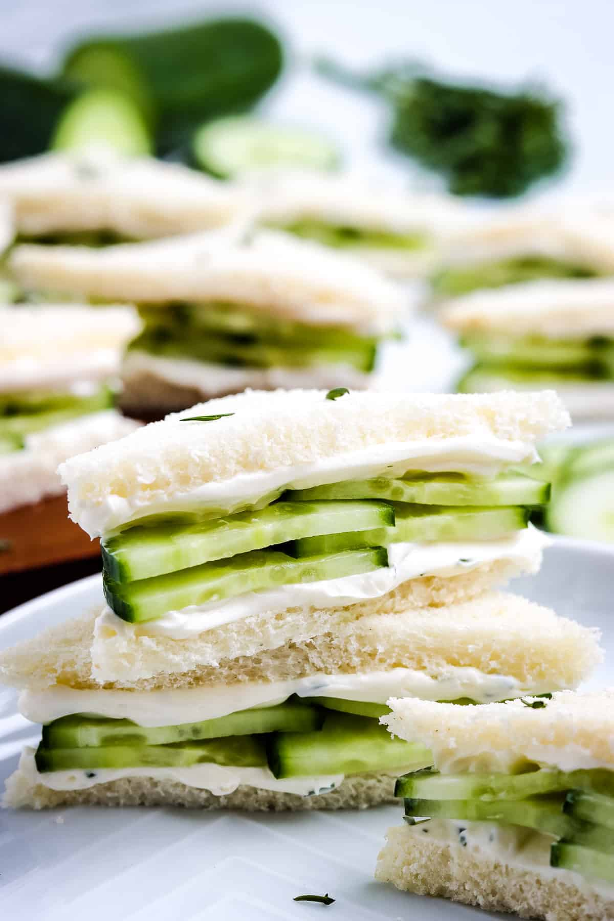 Cucumber Sandwich cut in half and stacked on top of each other