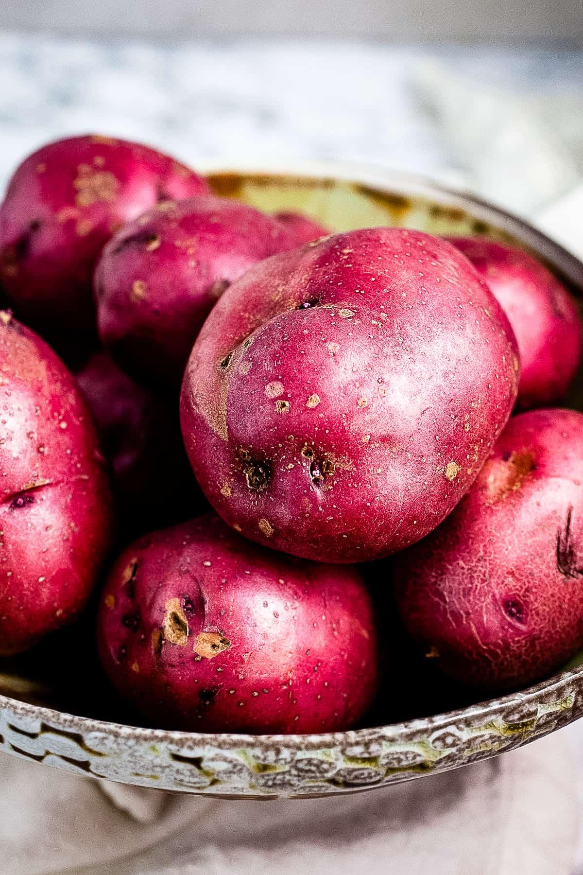 Red potatoes in big bowl