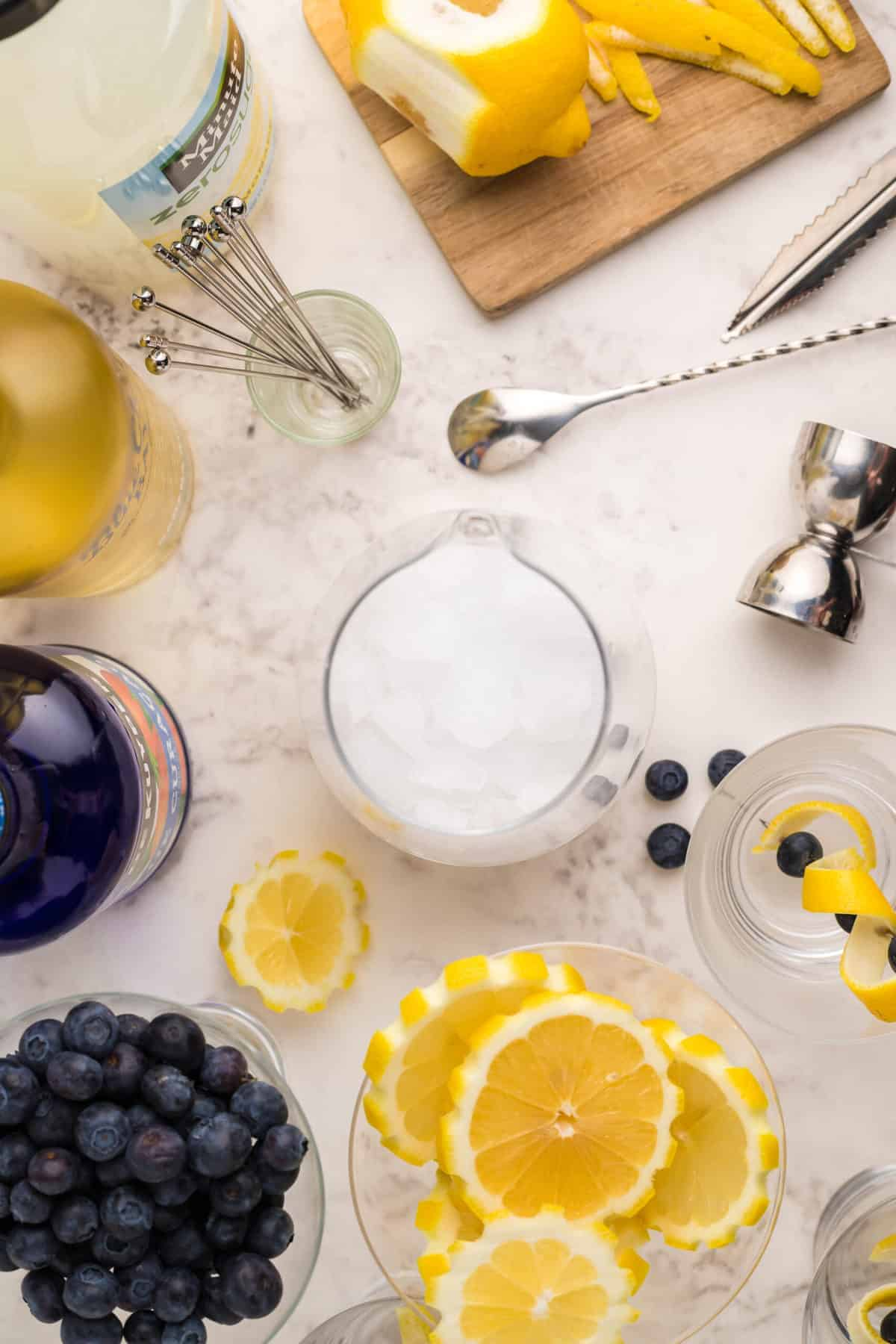 Overhead Image of ingredients for cocktail