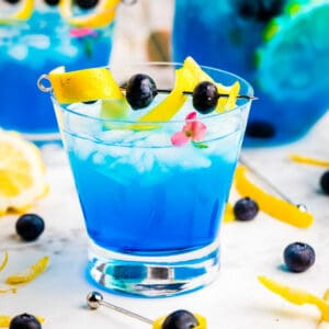 Cocktail glass with Ocean Breeze in it garnished with lemon and blueberry