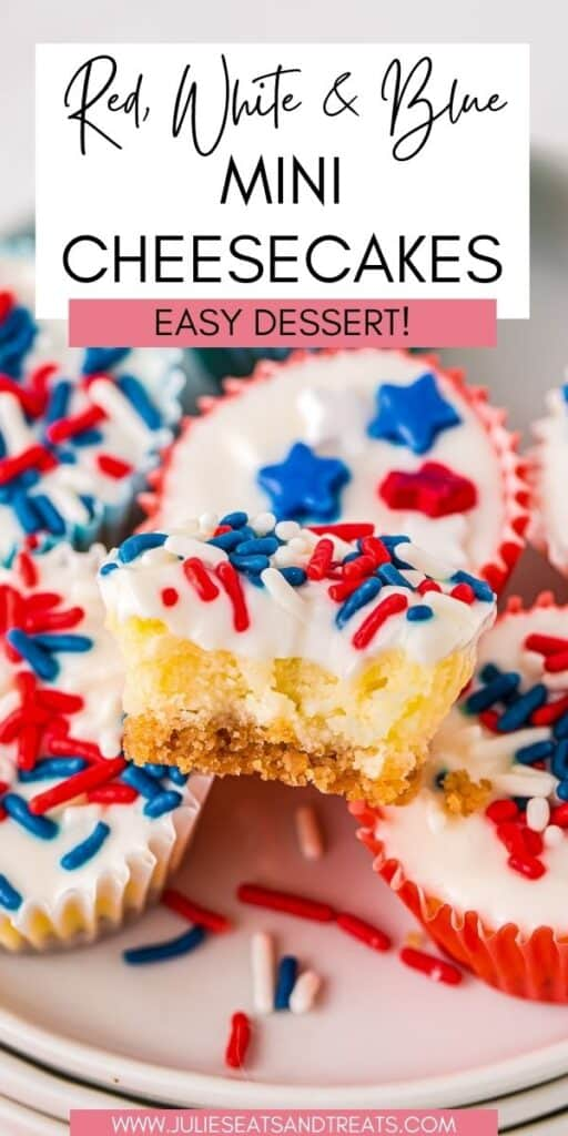 Red White and Blue Mini Cheesecakes JET Pin Image