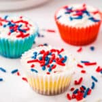 Red White and Blue Mini Cheesecakes Square Cropped Image