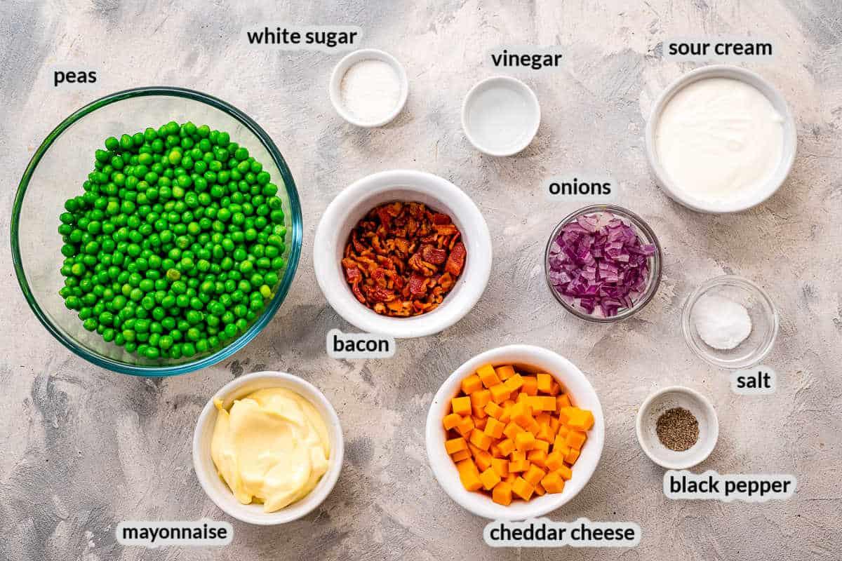 Overhead image of pea salad Ingredients in bowls