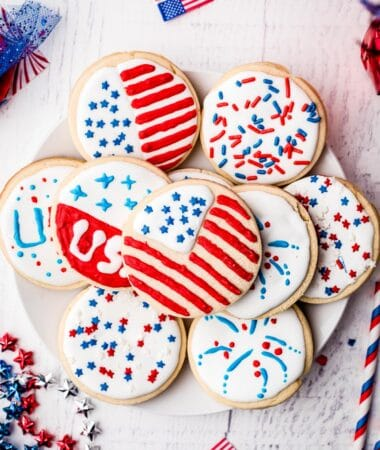 Plate with 4th of July Sugar Cookies on it