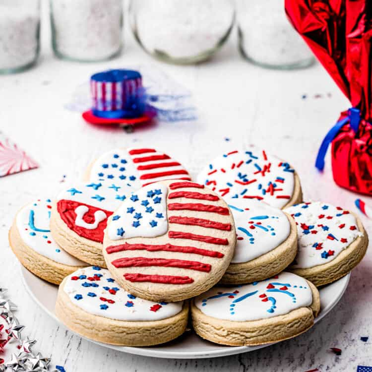 4th of July Sugar Cookies Square