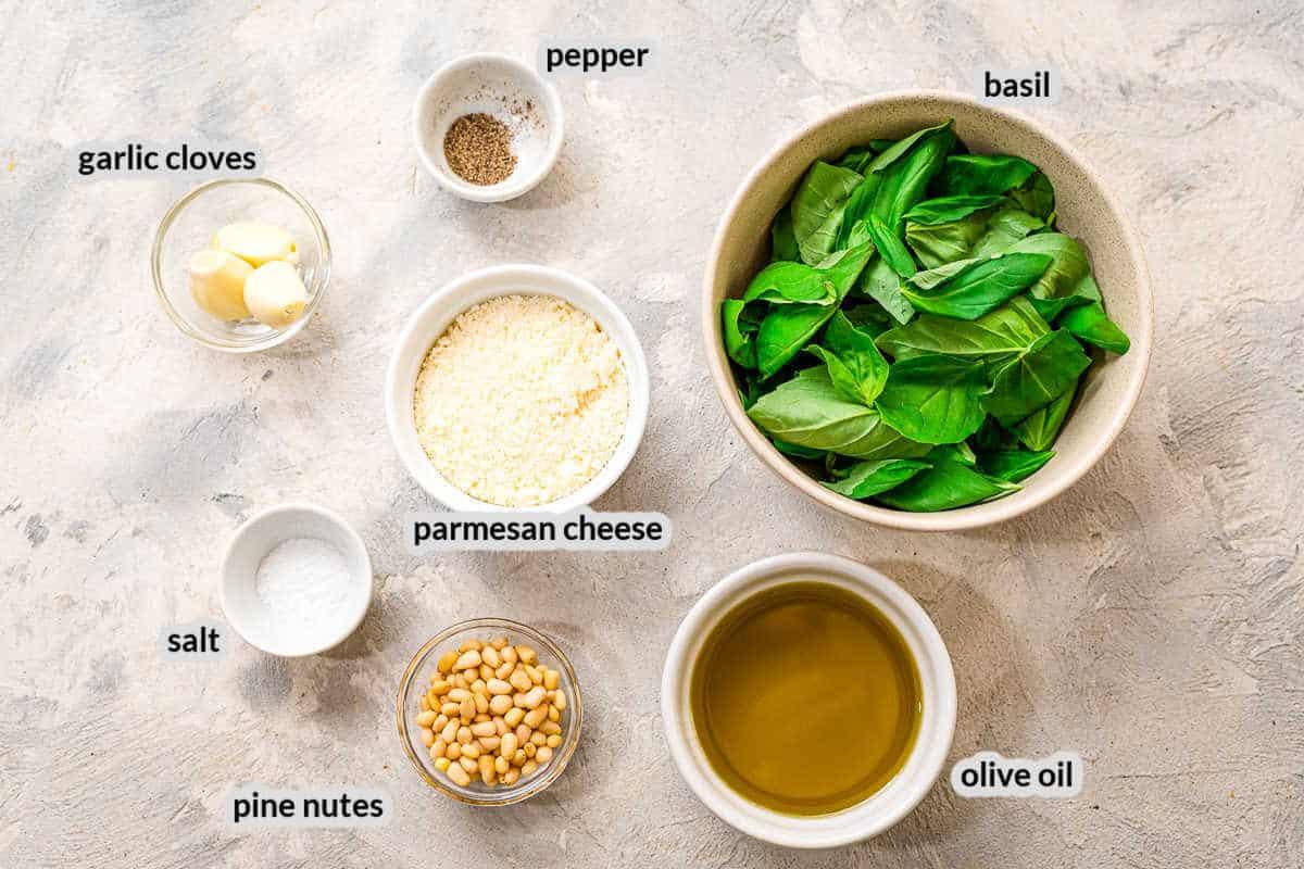 Overhead image of Basil Ingredients