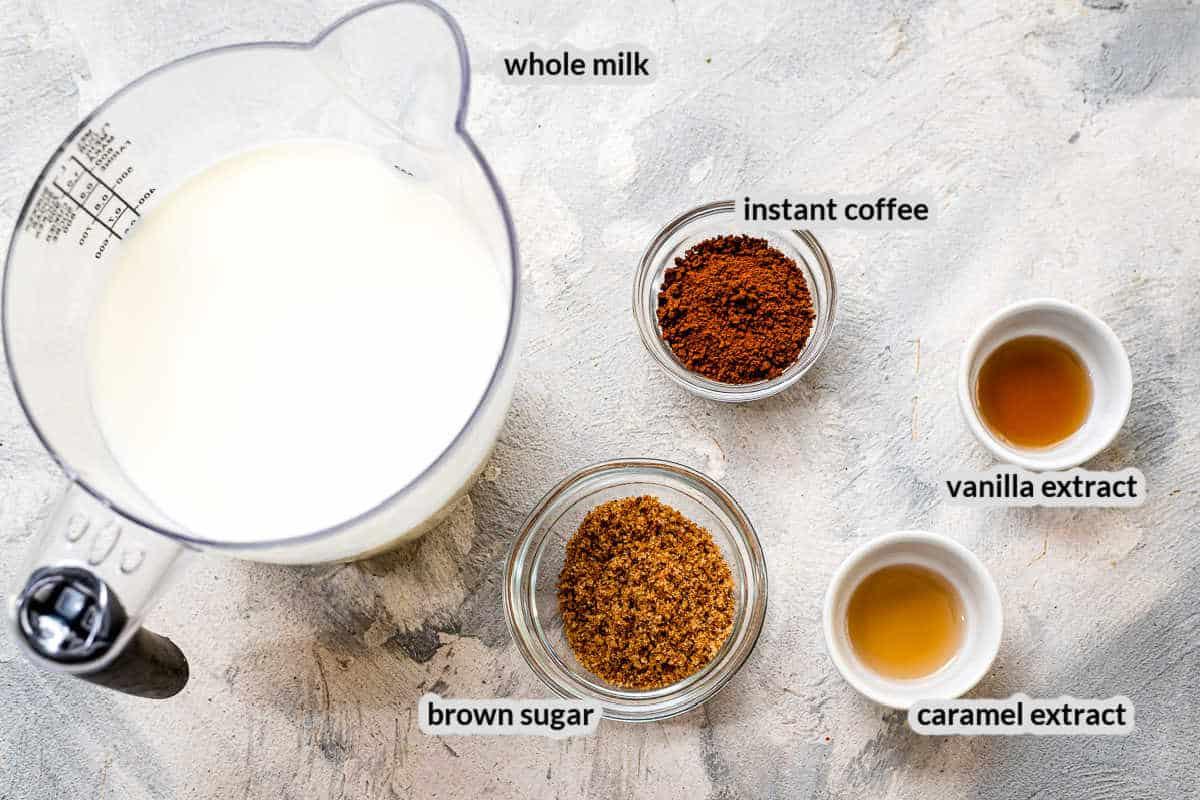 Overhead Image of caramel latte ingredients