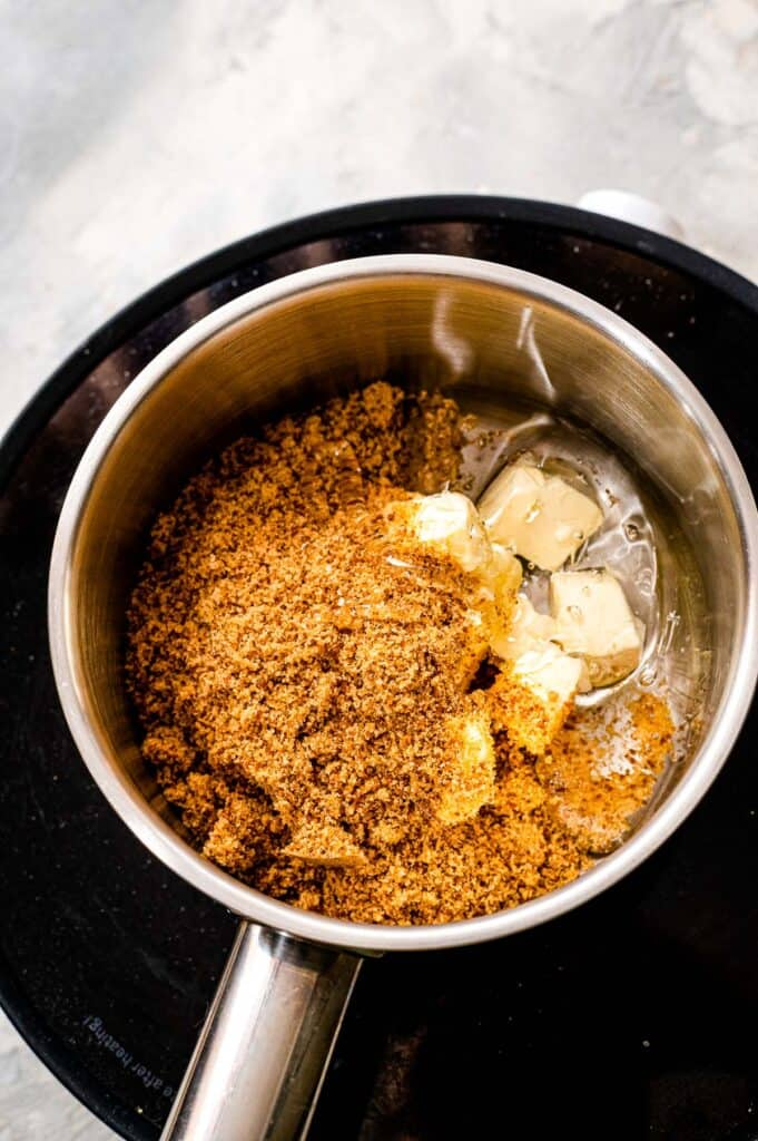 Saucepan with butter, corn syrup and brown sugar in it