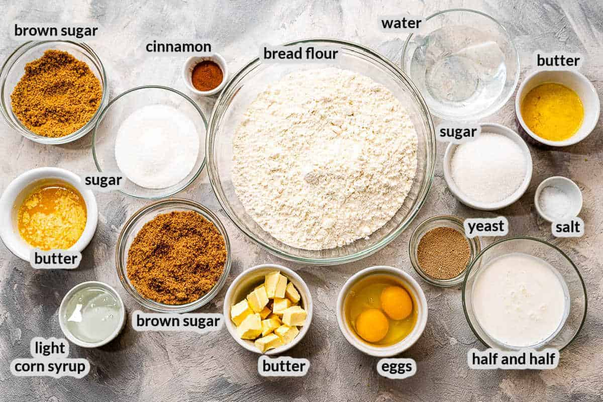 Overhead image of Caramel Rolls Ingredients with label