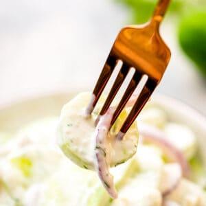 Creamy Cucumber Salad Recipe Square Cropped Image