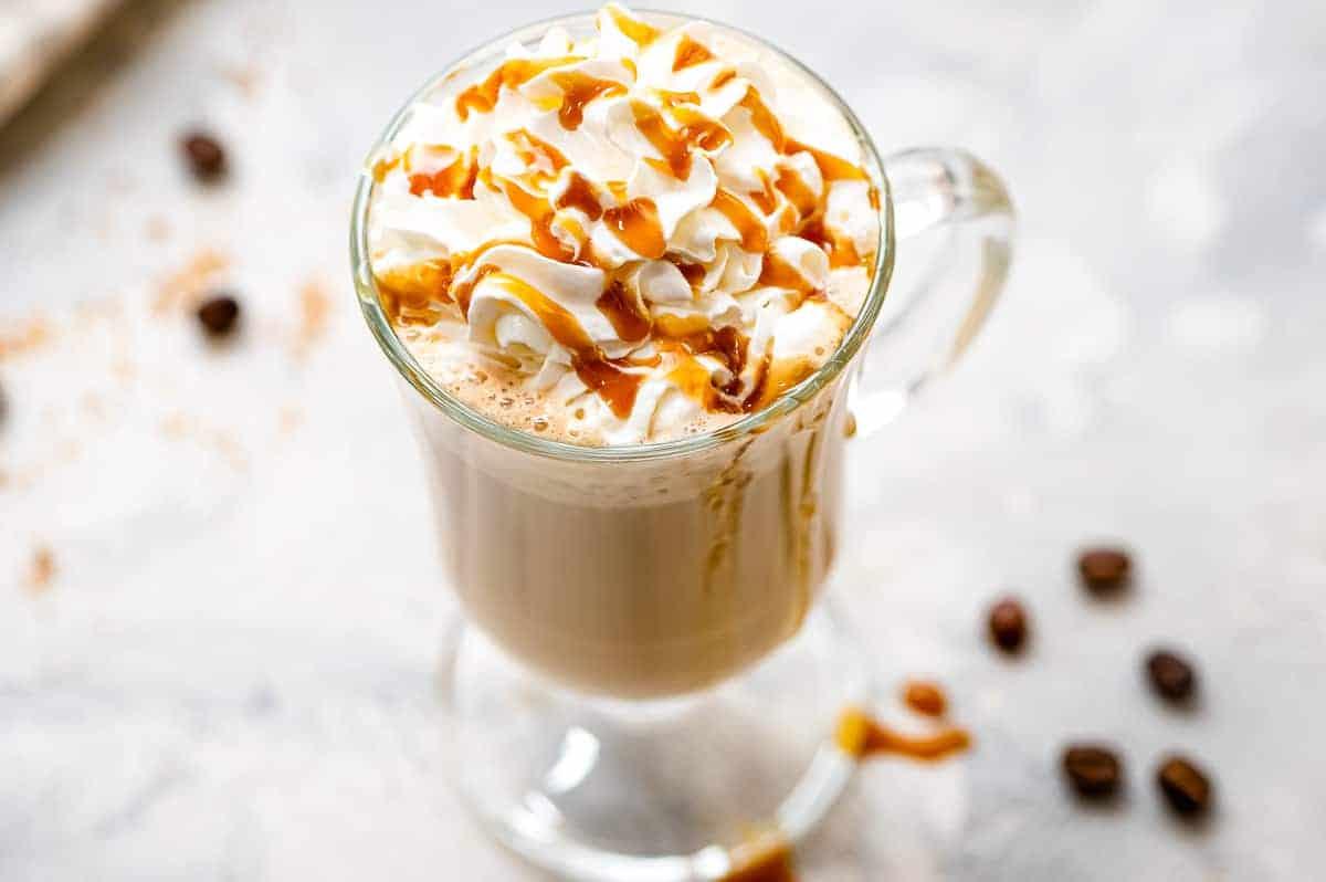 Glass mug with homemade caramel latte
