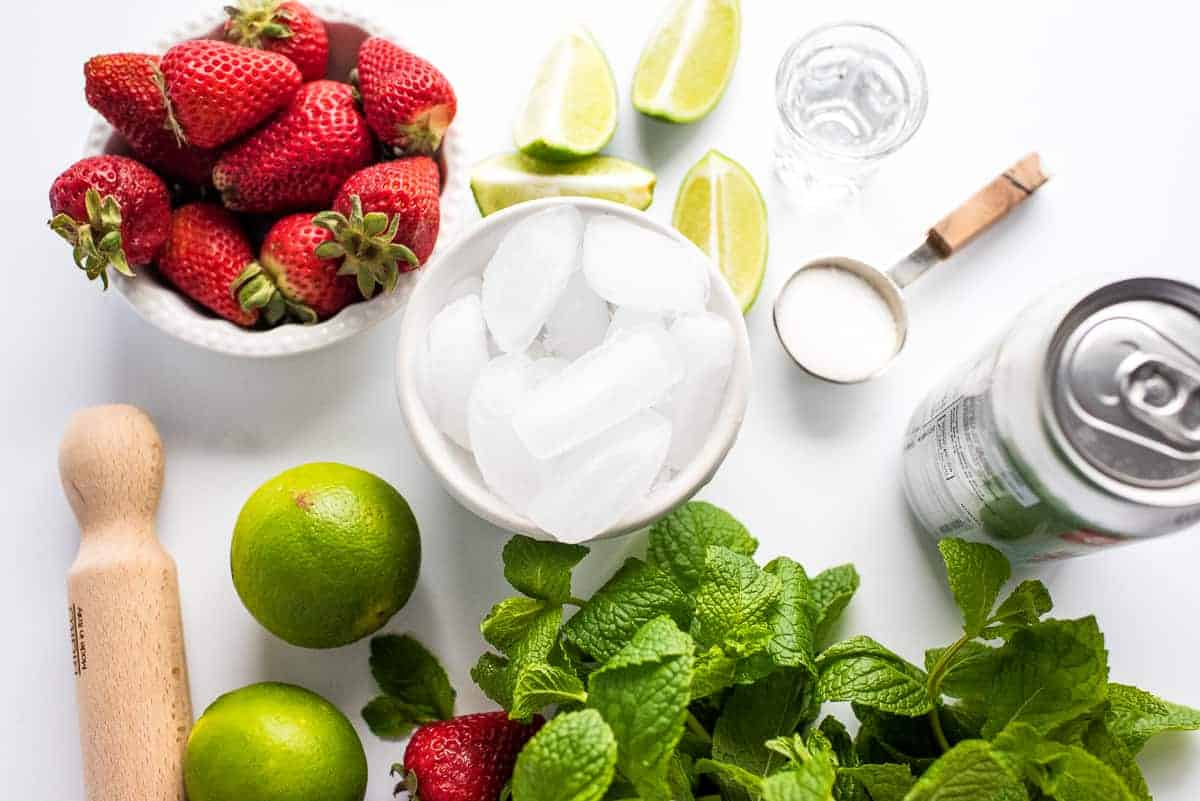 Overhead image of Strawberry Mojito Ingredients