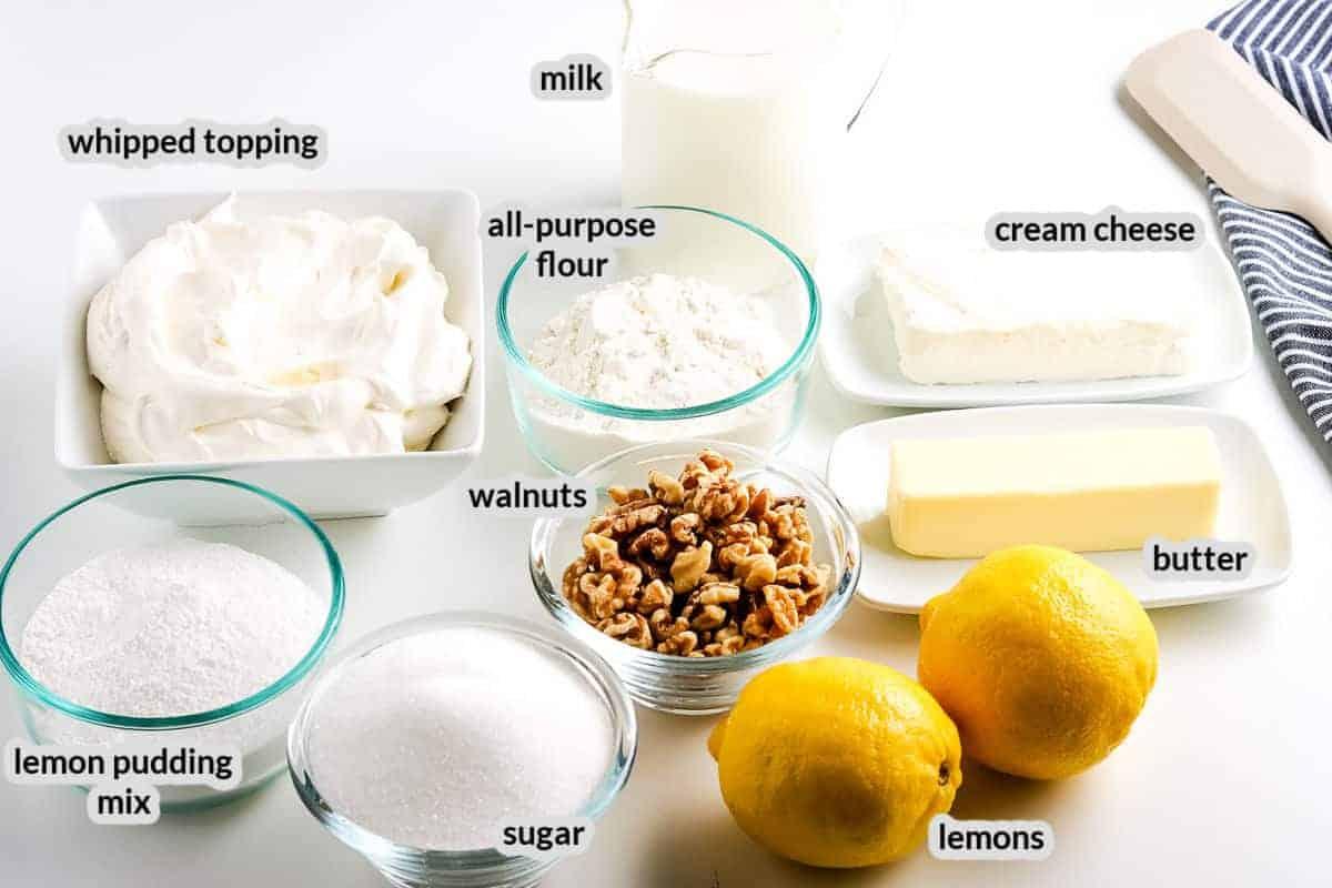 Overhead image of Lemon Lush Dessert Ingredients