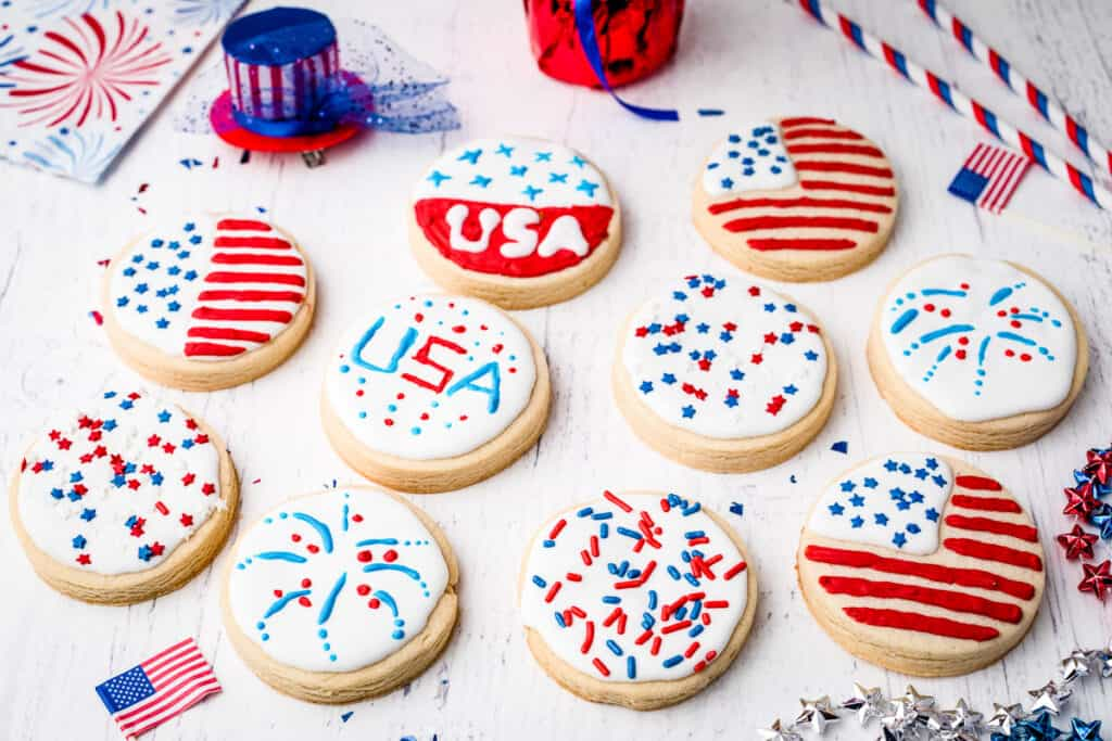 Light background with Patriotic Sugar Cookies on it.