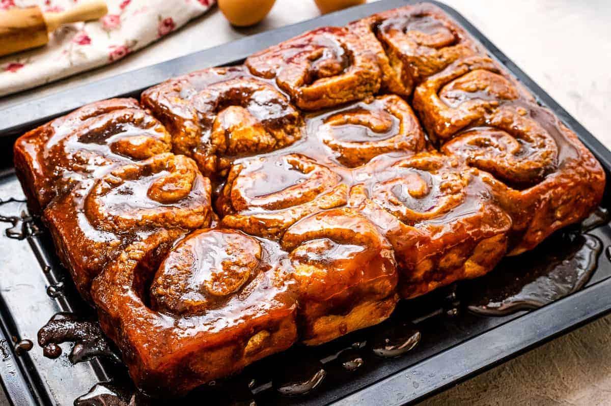 Pan of baked caramel rolls