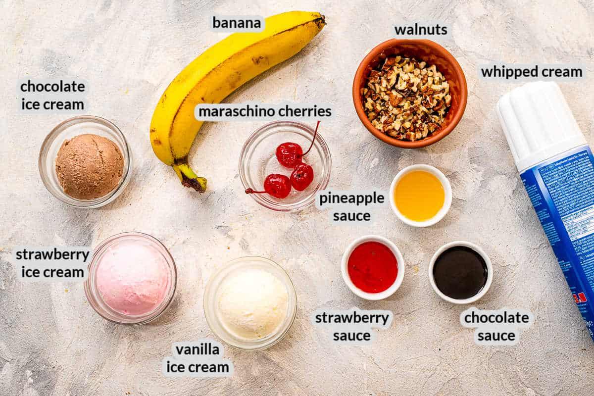 Overhead Image of Banana Splits Ingredients