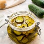 Bread and Butter Pickles in a jar