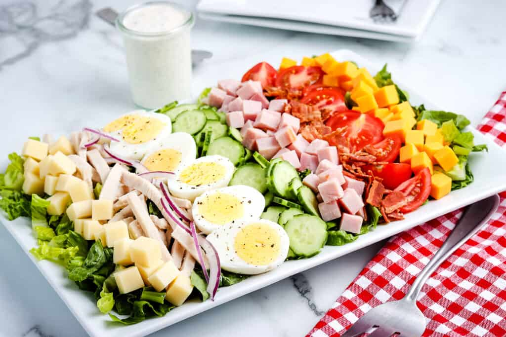 White platter with Chef's Salad on it