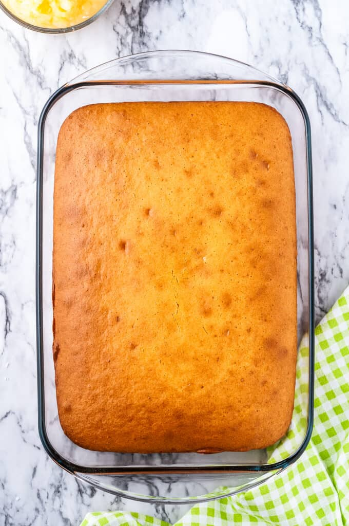 Overhead image of cake in glass baking pan