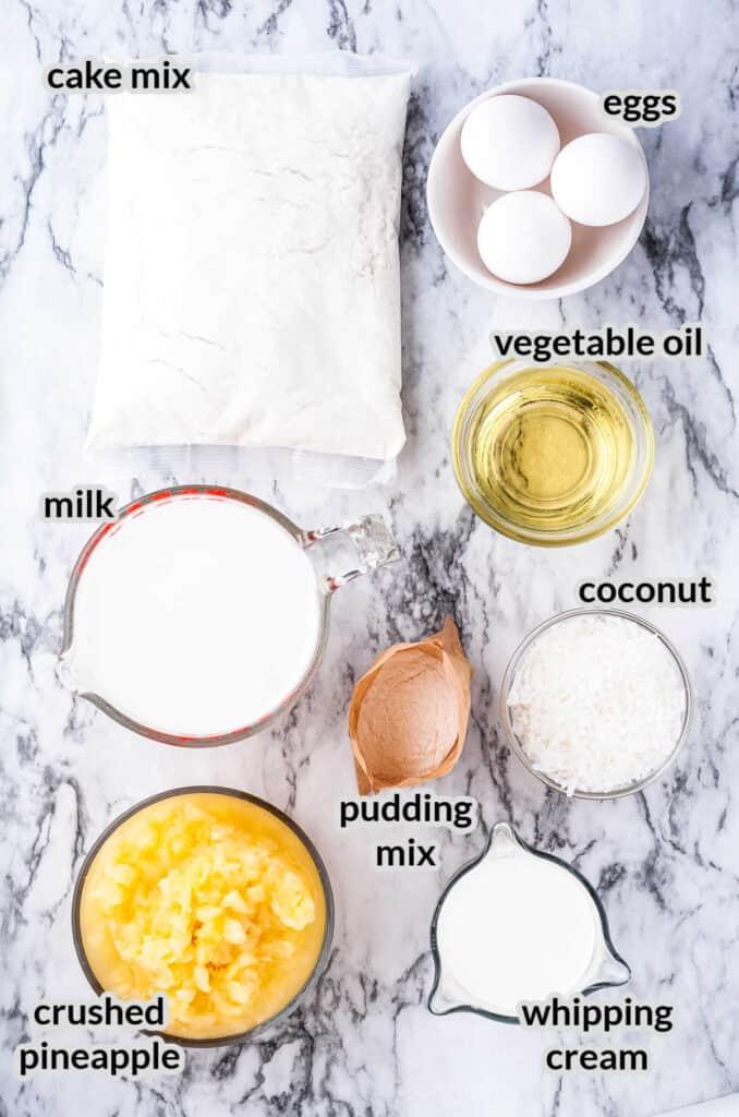 Overhead image of Pineapple Cake Ingredients