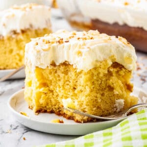 Piece of Pineapple Cake Square cropped image