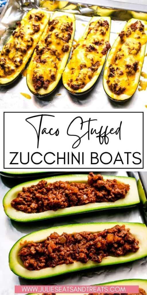 Taco Stuffed Zucchini Boats JET Pinterest Image