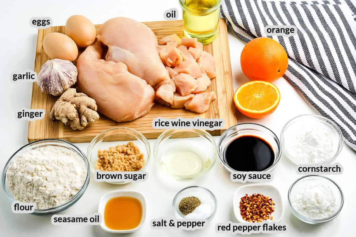 Overhead image of Orange Chicken Ingredients