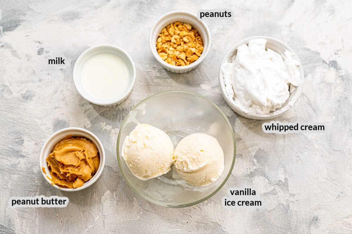 Overhead image of Peanut Butter Milkshake Ingredients