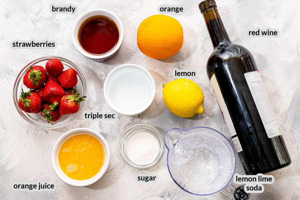 Overhead image of Red Sangria Ingredients