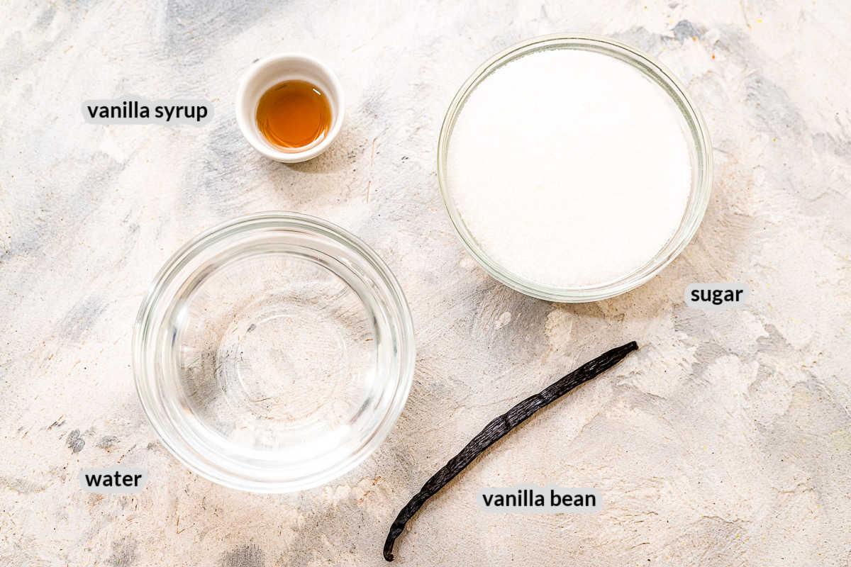 Overhead image of Vanilla Syrup Ingredients