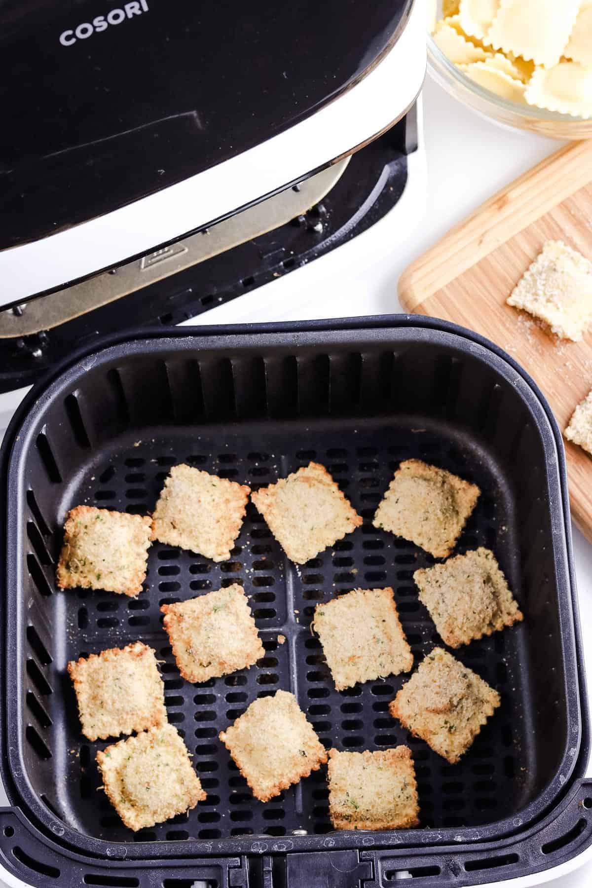 Ravioli in air fryer basket