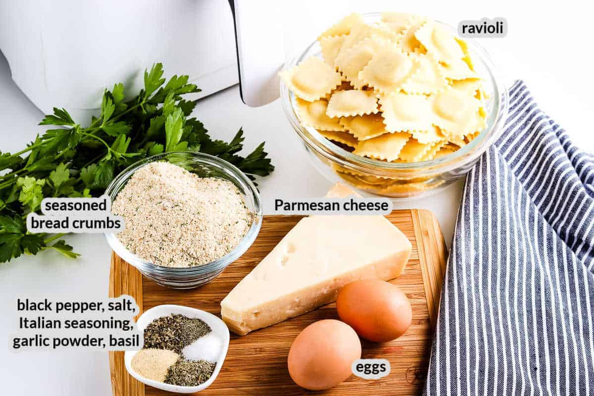 Overhead image of Air Fryer Ravioli Ingredients