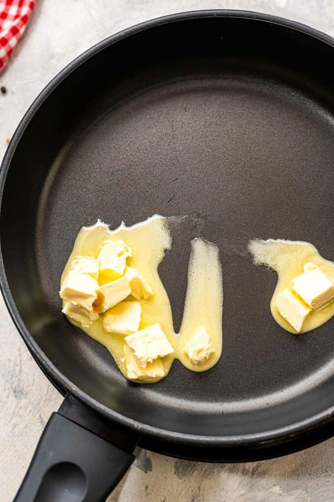 Butter melting in skillet