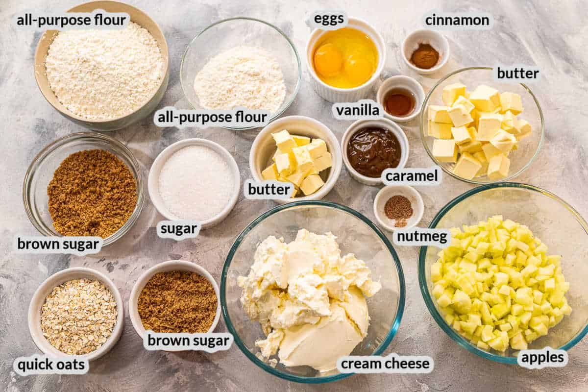 Overhead Apple Cheesecake Bars Ingredients in a bowl
