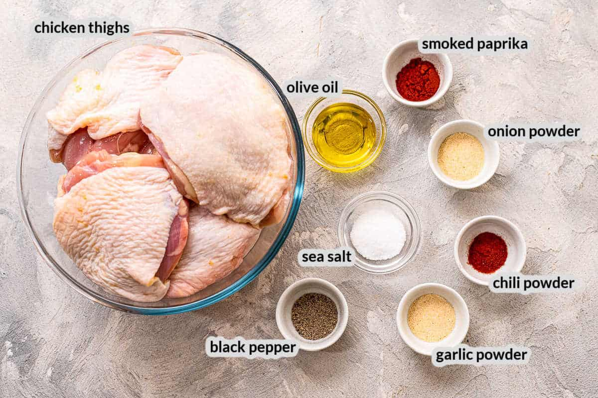 Overhead Image of Baked Chicken Thighs Ingredients