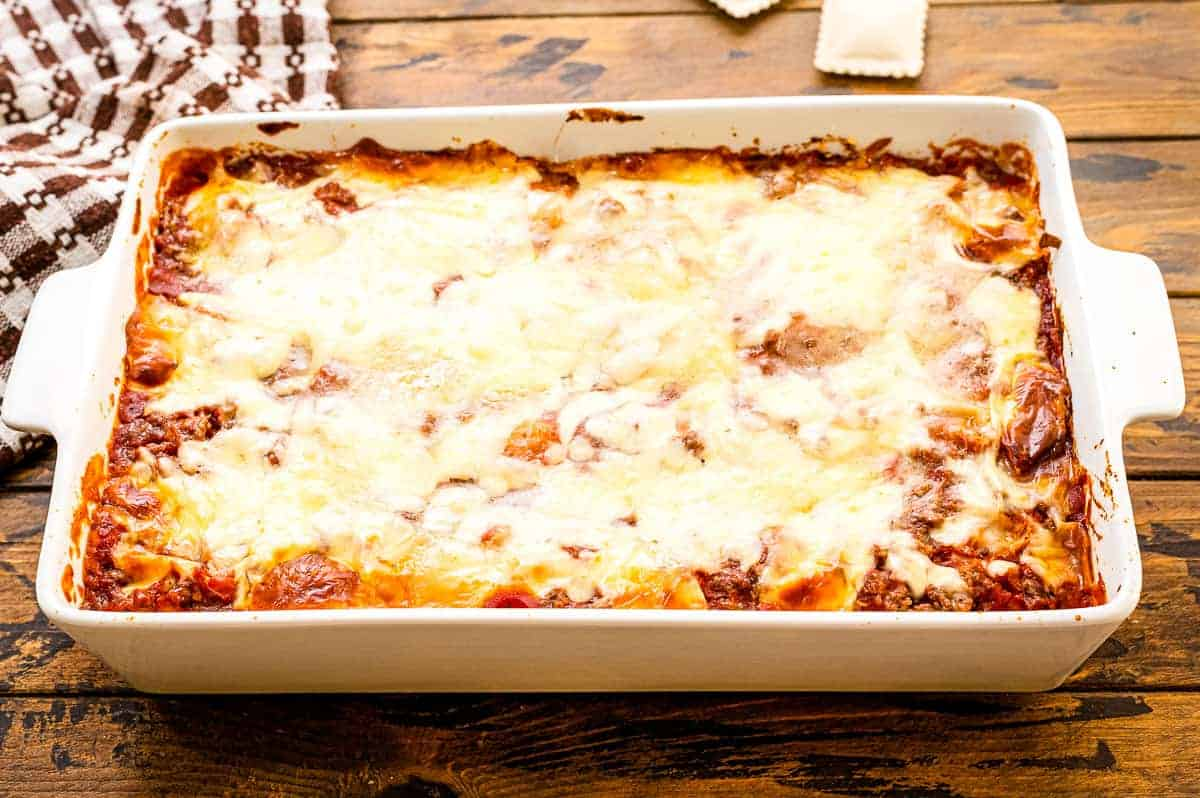 Pan of baked ravioli casserole