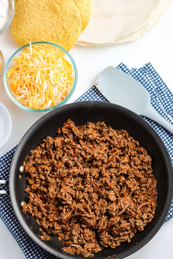 Taco meat in a black skillet