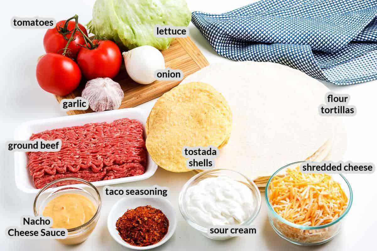 Overhead image of Crunchwrap Supreme Ingredients