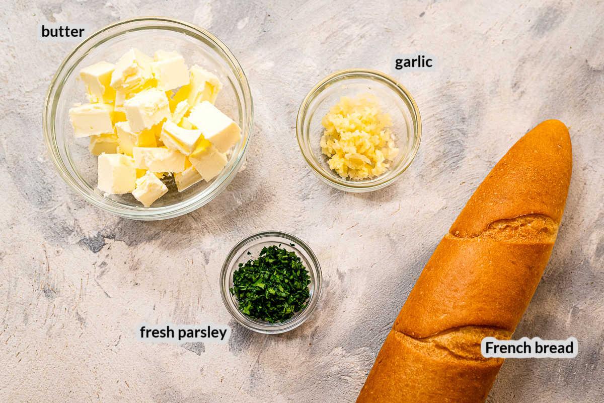 Overhead Image of Garlic Bread Ingredients