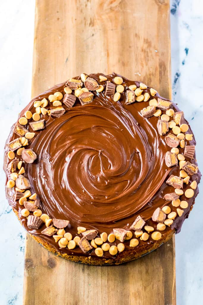 Overhead image of peanut butter and chocolate cheesecake