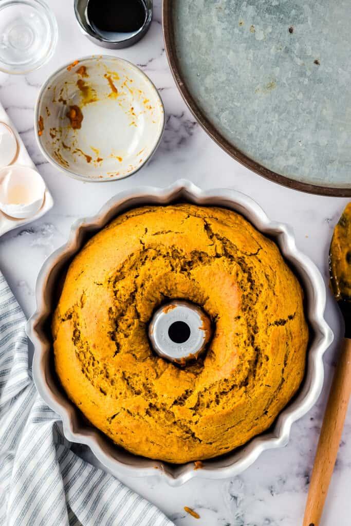 Baked Pumpkin Bundt Cake in bundt pan
