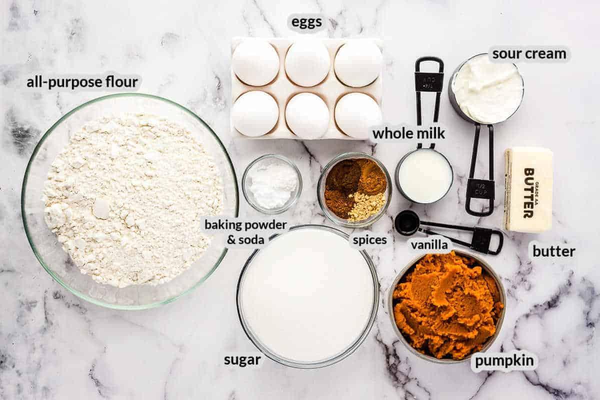 Overhead image of Pumpkin Bundt Cake Ingredients