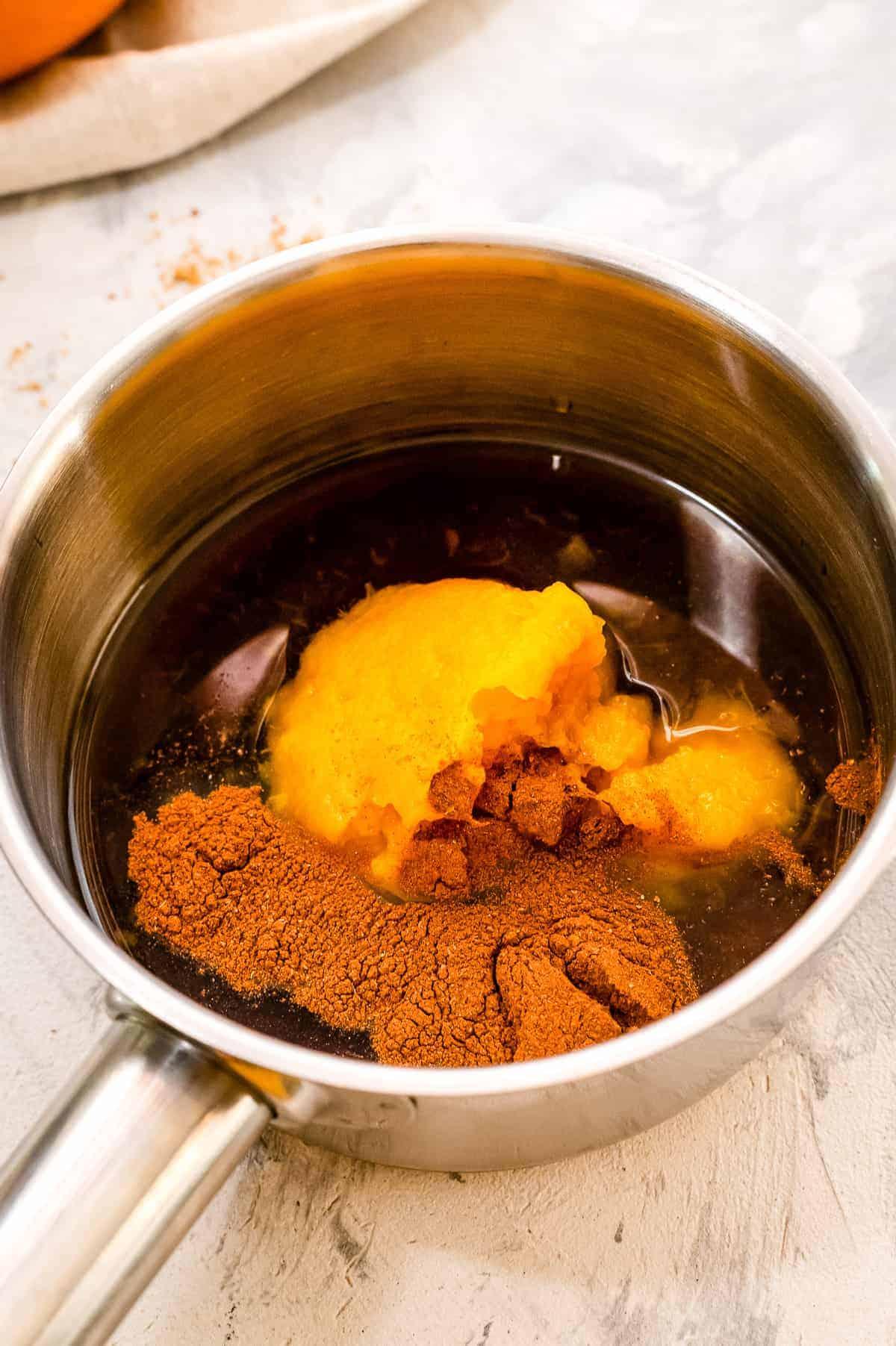 Pumpkin Coffee Syrup ingredients in saucepan before mixing