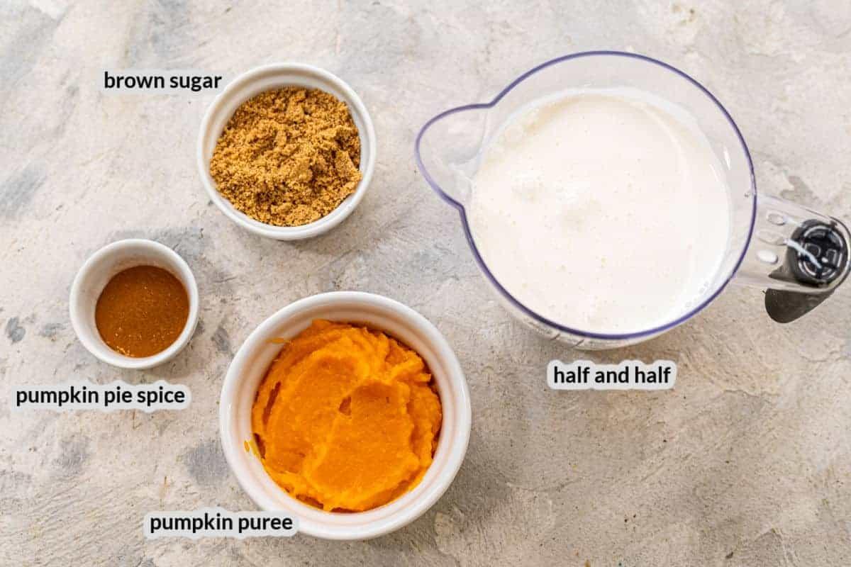 Overhead image of Pumpkin Spice Coffee Creamer Ingredients in bowls
