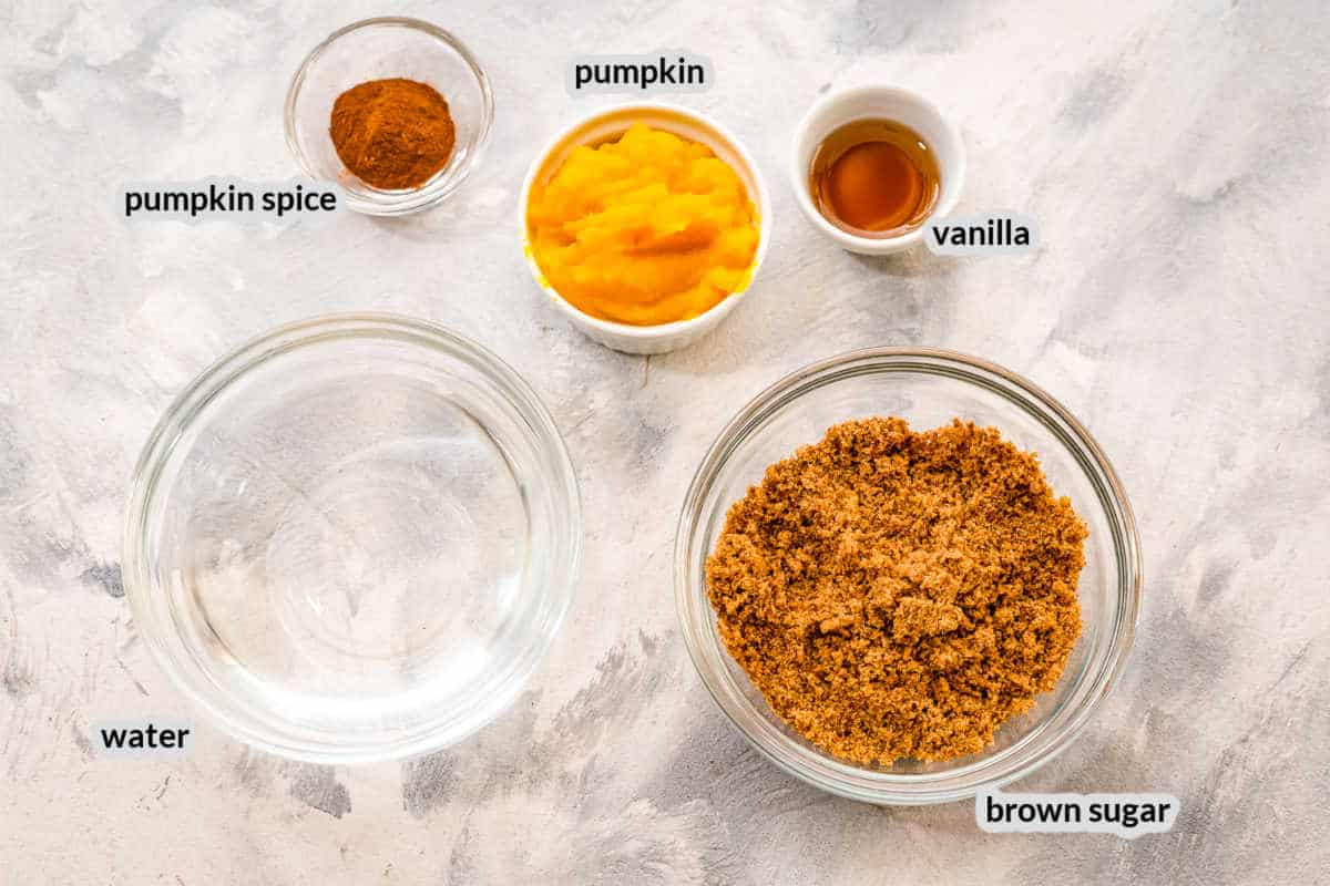 Overhead Image of Pumpkin Spice Coffee Syrup Ingredients