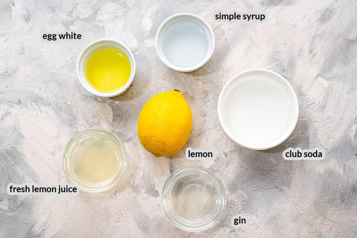 Overhead image of Gin Fizz Ingredients