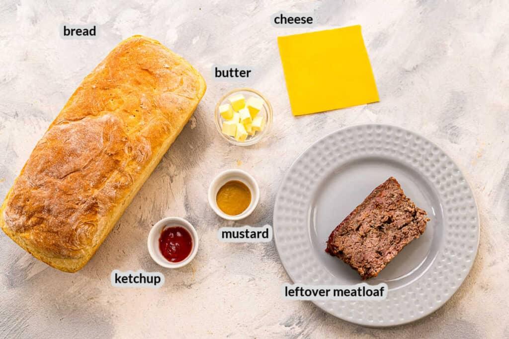 Overhead image of Meatloaf Sandwich Ingredients