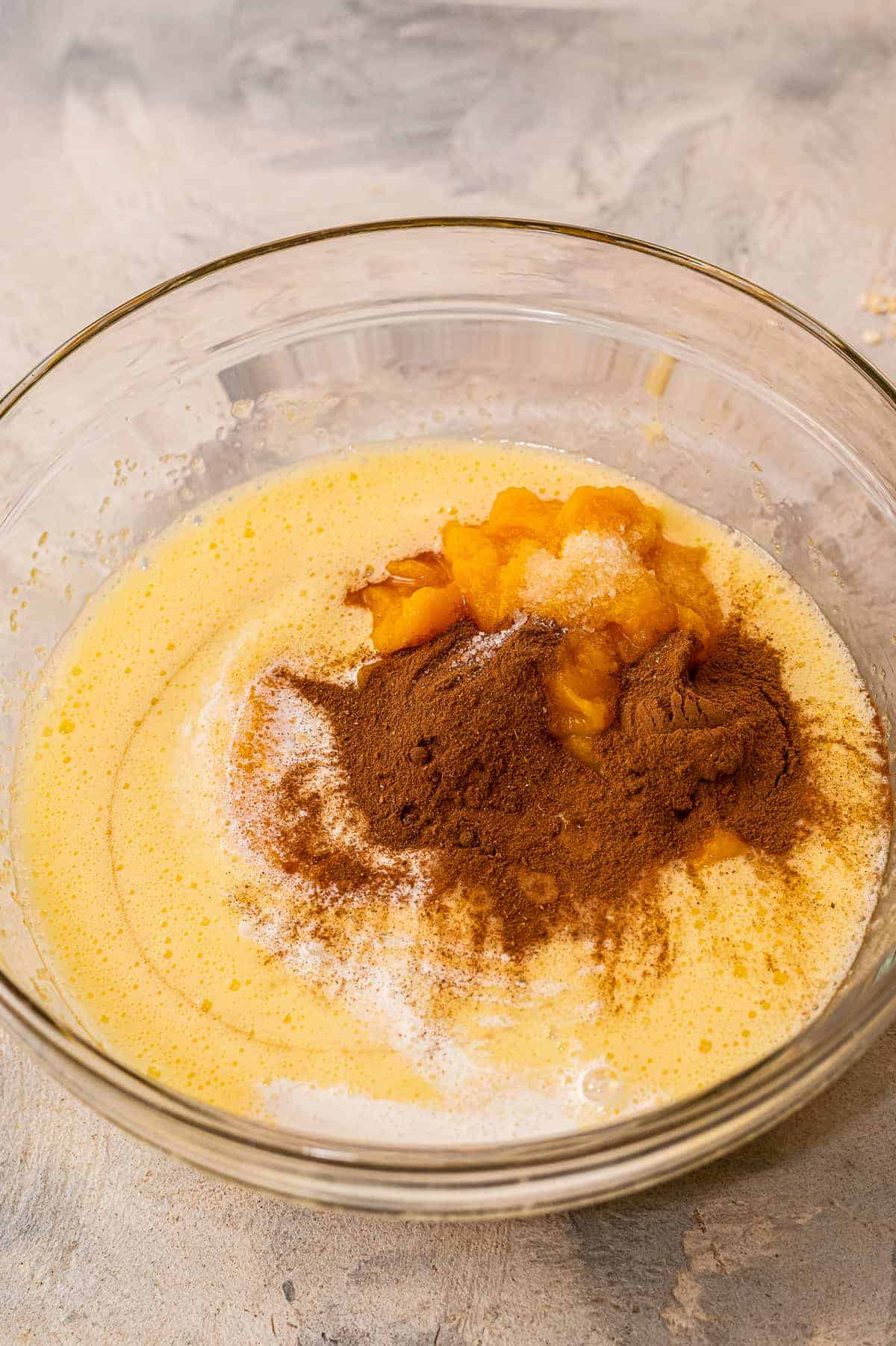 Pumpkin filling for crisp in bowl before mixing