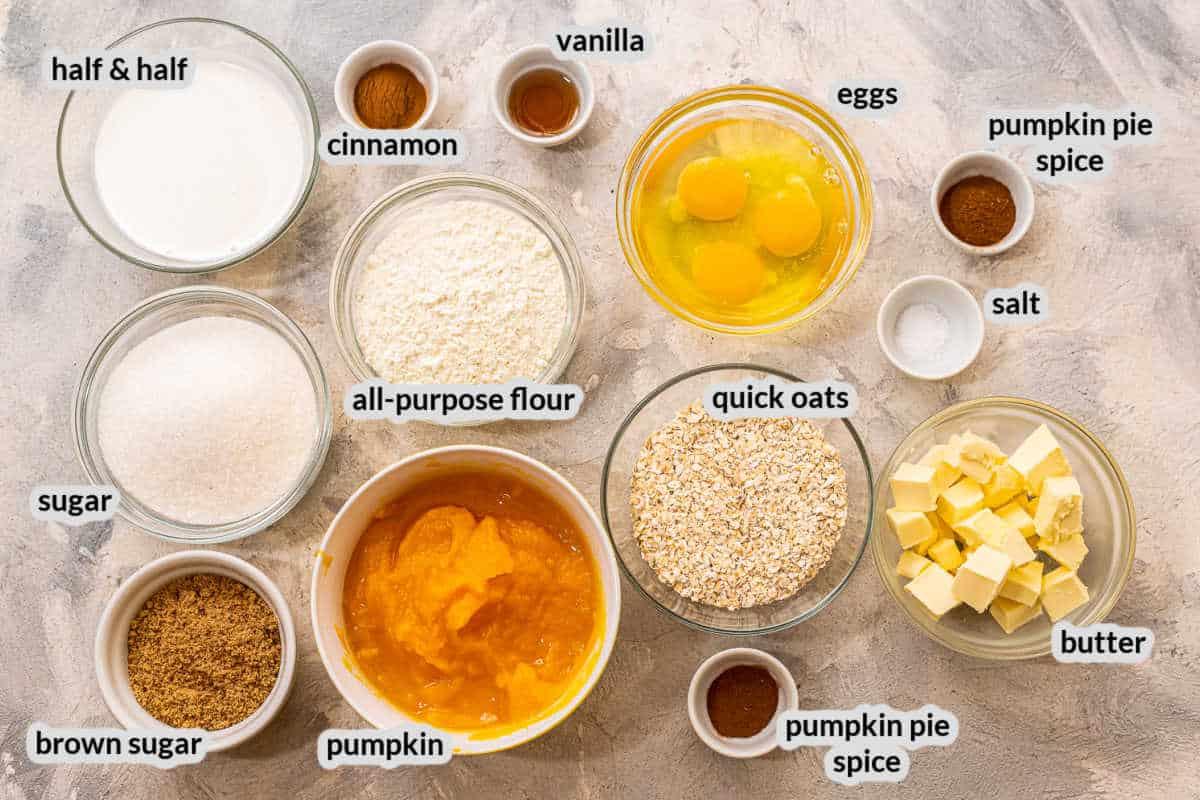 Overhead image of Pumpkin Crisp Ingredients in bowls