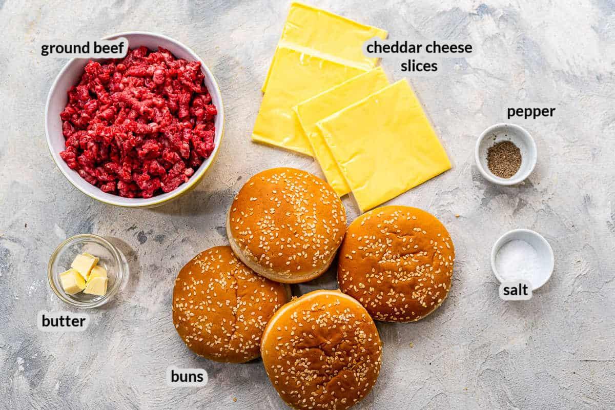 Overhead image of Stovetop Burgers Ingredients